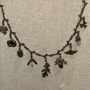 Michael Michaud Bronze Acorn Gingko Leaf Necklace